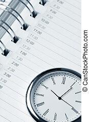 calendário, e, relógio