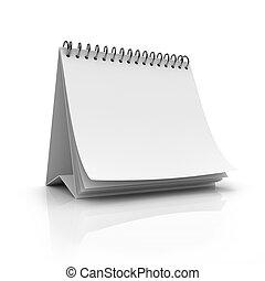 calendário, em branco, desktop