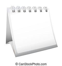 calendário, em branco, escrivaninha