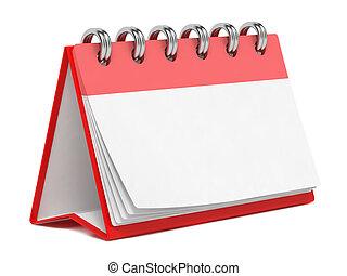 calendário, em branco, isolado, white., desktop