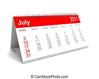 calendário escrivaninha, julho, 2011