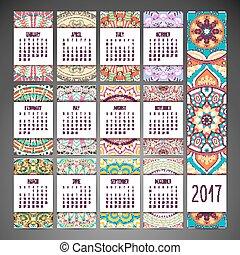 calendário, estilo, étnico