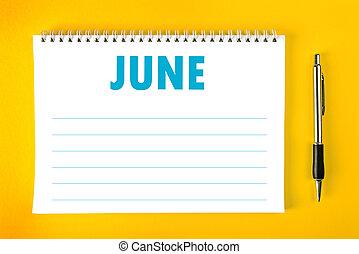 calendário, junho, página, em branco