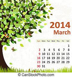 calendário, março, 2014