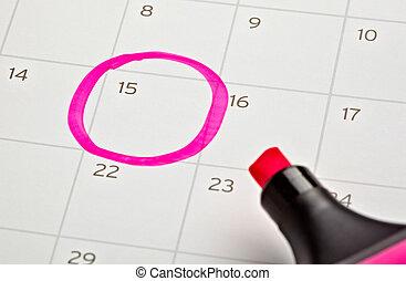 calendário, marcado, importante, ano