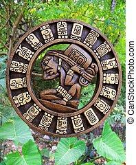 calendário, mayan, cultura, madeira, ligado, méxico, selva