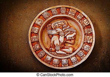 calendário, mayan, esculpido, fundo, textured