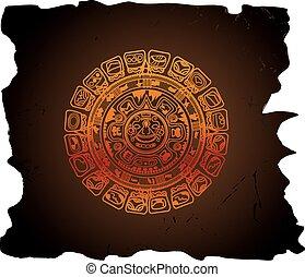 calendário, mayan, ilustração