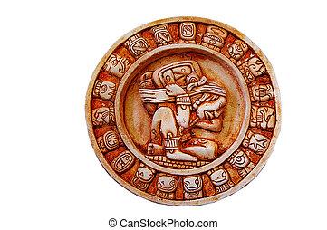 calendário, mayan, isolado, branca, esculpido