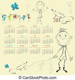 calendário, modelo, 2012