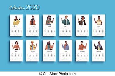 calendário, modelo, pessoas, 2020, ano, diverso, planejador