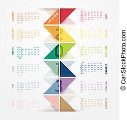 calendário, modernos, macio, 2013, cor