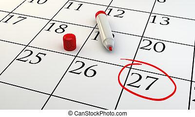 calendário, nomeação, dia, circundado