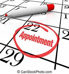 calendário, -, nomeação, dia, circundado, para, lembrete