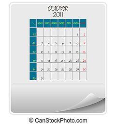 calendário, outubro, 2011