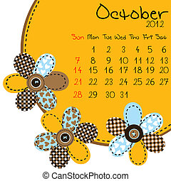 calendário, outubro, 2012