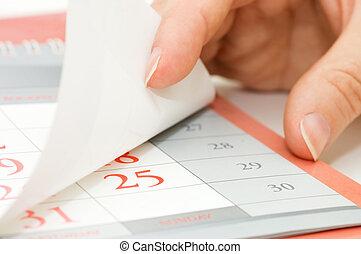 calendário, overturns, folha, mão