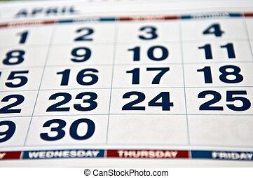 calendário, página