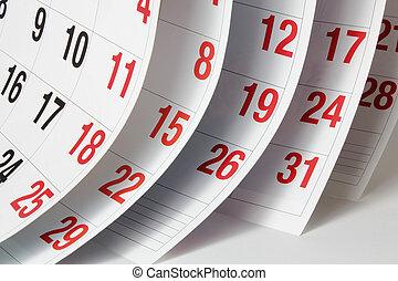 calendário, páginas