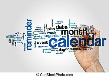 calendário, palavra, nuvem, conceito, ligado, cinzento, fundo
