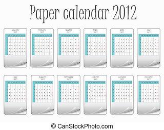 calendário, papel, 2011