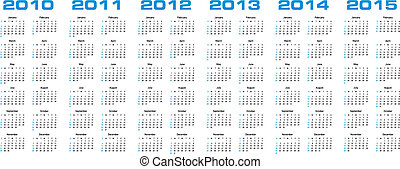 calendário, para, 2010, através, 2015
