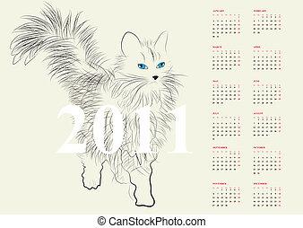 calendário, para, 2011
