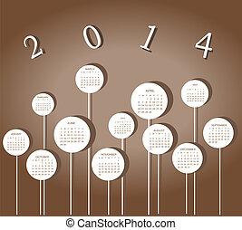 calendário, para, 2014, ano, com, círculos