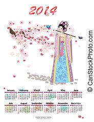 calendário, para, 2014, com, um, bonito, menina