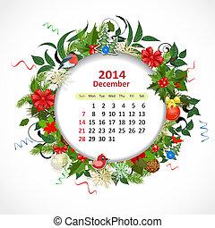 calendário, para, 2014, dezembro