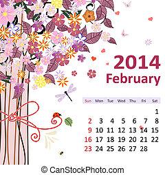 calendário, para, 2014, fevereiro