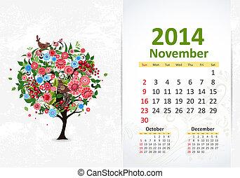 calendário, para, 2014, novembro