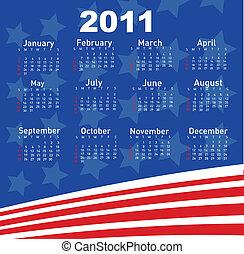 calendário, para, ano, 2011