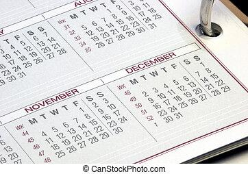 calendário, planejador