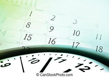 calendário, rosto relógio