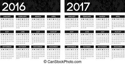 calendário, textured, pretas, 2016-2017