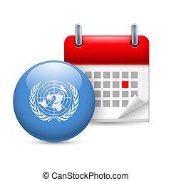 calendário, unidas, ícone, nações