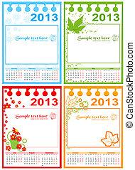 calendário, vetorial, 2013-2015
