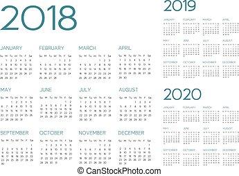 calendário, vetorial, 2018-2019-2020, inglês