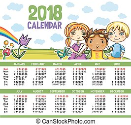 calendário, vetorial, year., 2018