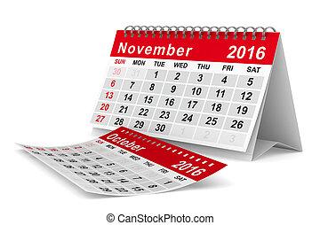 calendar., イメージ, 隔離された, november., 年, 2016, 3d