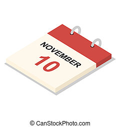 Calendar 10 november icon set, isometric style