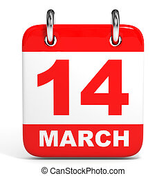 Calendar. 14 March. - Calendar on white background. 14...