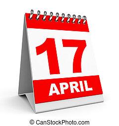 Calendar. 17 April. - Calendar on white background. 17...
