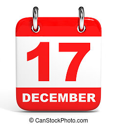 Calendar. 17 December. - Calendar on white background. 17...