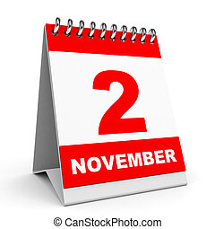 Calendar. 2 November. - Calendar on white background. 2 ...
