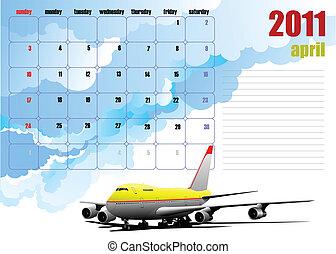 Calendar 2010 with plane image. Months. Vector illustration
