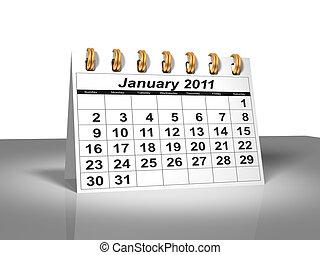 calendar., 2011, janvier, bureau