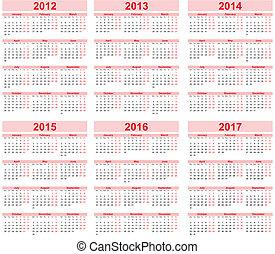 Calendar 2012, 2013, 2014, 2015, 20