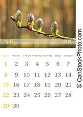 calendar 2012, April
